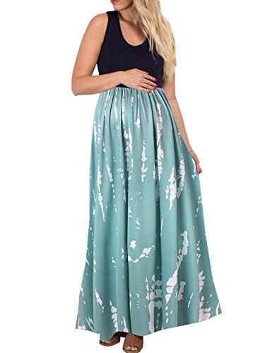 BMJL Women's Maternity Dress Sleeveless Ruched Color Block Maxi O-Neck A-line Dress