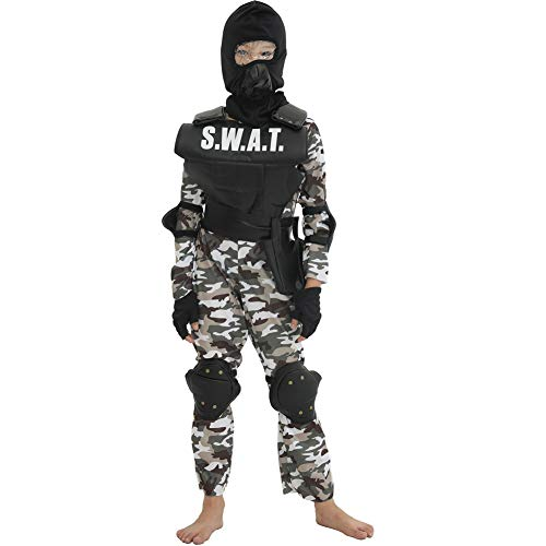 Team Kostüm Ein - LOLANTA 7 STÜCKE Jungen SWAT Team Kostüm Kinder Taktische Uniform Camouflage Armee Overall (116/128 (5-7 Jahre))