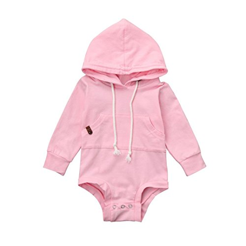 SHOBDW Boys Rompers, Baby Girl Fashion Hooded Autumn Jumpsuit Sport Tops Newborn Infant Outfits Clothes (0-3 Months, Pink)
