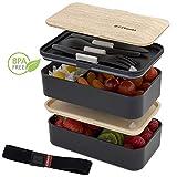 ZEEBENTO  Bento Lunch Box Bambou Design | Bento Japonais | Hermétiques | Résiste au Micro-Ondes et Lave-Vaisselle | sans PBA | Boîte Repas pour la Famille | Marque Déposée | Bento Qualité