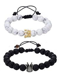 Infinite Joy YinYang Labradorite and Black Agate Gemstone His and Hers Bracelets Couple Bracelet (2pcs) (transparent&black) by joybracelet