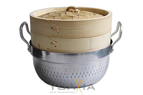 yoaxia ® - Bambusdämpfer 2-teilig (18cm) mit Wassertopf // Steamer Set // Bamboo Steamer