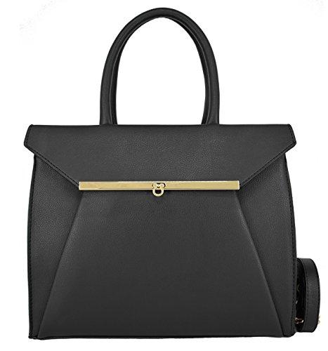 CRAZYCHIC - Damen Handtasche mit Gold Drehkreuz verschluss und Fronttasche - Leder imitat Tasche - Henkeltasche - Schultertasche - Designer bag - Schultasche - Schwarz