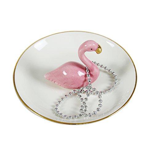 Tablett Schmuck-teller (Pink Flamingo Schmuckkästchen, weiß Keramik Schmuck Teller Ringe Armbänder Ohrringe Tabletts Halterung)