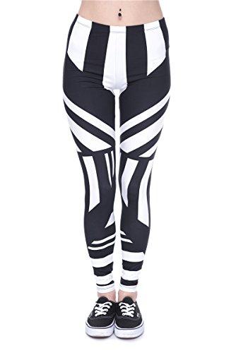 Veuer Frauen Leggins Schwarz Weiß Leggings mit Druck Hose gemütliche Chill Kleidung Zebra VL14