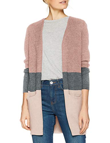 ONLY NOS Damen Strickjacke onlQUEEN L/S Long Cardigan KNT NOOS, Mehrfarbig (Misty Rose Stripes:W. MGM/Cloud Pink Melange), 38 (Herstellergröße: M)