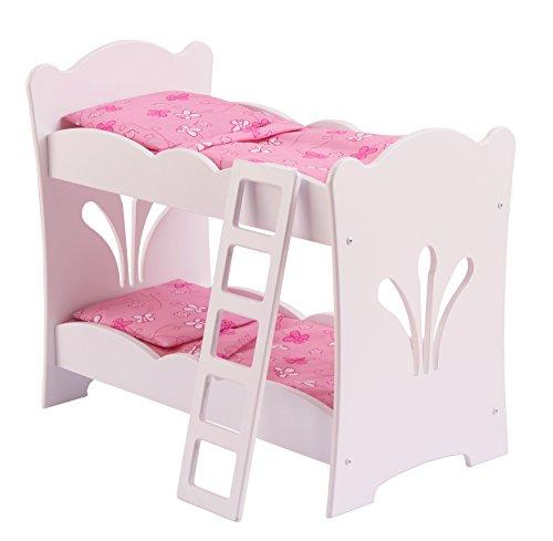 KidKraft 60130 Lil' Doll Etagenbett aus Holz in weiß mit rosa Bettwäsche und Zubehör - Puppenmöbel für 45cm große Puppen