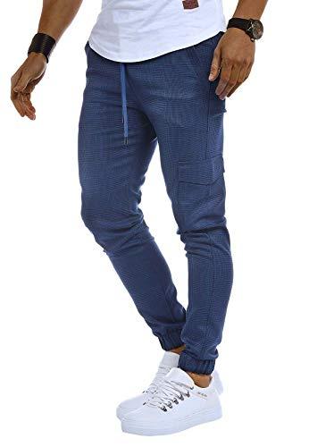 LEIF NELSON Herren Jogger Chinos Cargo Stretch Jogging | Männer Basic Jogg Cargohose Streifen Jogginghose | Jungen Freizeithose Jeans-Hosen Sweatpants Streifen Chinohosen | LN8291 Blau Medium