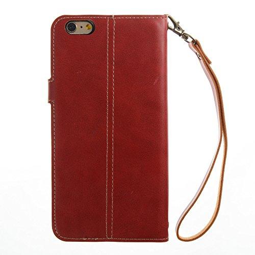 iPhone 6 Plus/6S Plus Coque, Voguecase Étui en cuir synthétique chic avec fonction support pratique pour Apple iPhone 6 Plus/6S Plus 5.5 (Cheval fou motif rétro-Rouge)de Gratuit stylet l'écran aléatoi Cheval fou motif rétro-Rouge