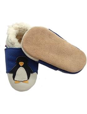 Baby Lederschuhe mit Fütterung Winterschuhe Krabbelschuhe Hauseschuhe: Pinguin NEU