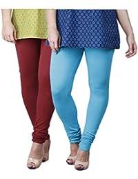 Limeberry Women's Cotton Legging Pack of 2 (LB-2PCK-LEGG-CMB-6_Multicolor)
