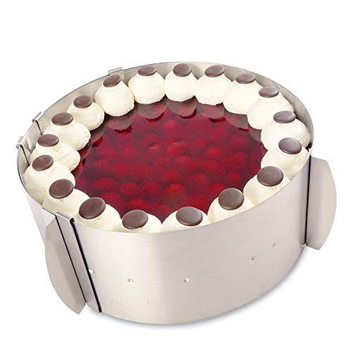 Tortenring verstellbar aus Edelstahl mit Skalierung - Backring verstellbar Made in Germany - mit dem variablen Kuchenring gelingen kleine und große Kuchen und Torten mit Leichtigkeit
