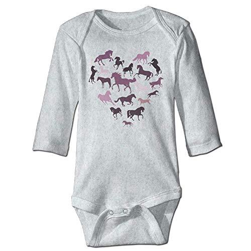 MSGDF Unisex Infant Bodysuits Horse and Heart Girls Babysuit Long Sleeve Jumpsuit Sunsuit Outfit Ash (Halloween Skeleton Horse)