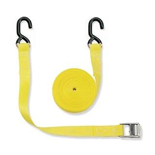 Braun Spanngurt 400 daN, zweiteilig, Farbe gelb, 2 m Länge, 25 mm Bandbreite, mit Klemmschloss und S-Haken