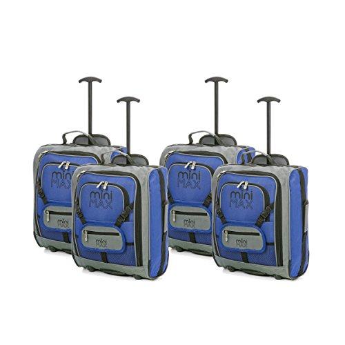 Sets von MiniMAX Kinder / Kindergepäck Carry On Trolley-Koffer mit Rucksack und Tasche für Ihre Lieblingspuppe / Bear (4 x Blau)