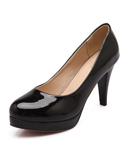 WSS 2016 Chaussures Femme-Bureau & Travail / Décontracté-Noir / Bleu / Rouge-Talon Cône-Talons / Bout Arrondi-Talons-Cuir Verni black-us6.5-7 / eu37 / uk4.5-5 / cn37