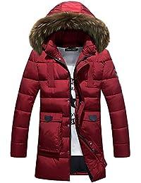 DAZISEN Winter Herren Daunenjacke - Dick Wintermantel Mit Kapuze  Winterjacke Parka Lang Jacke Warm Mantel Outdoorjacke 01f0e57a1f