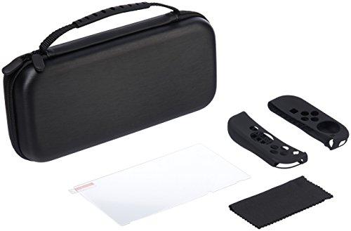 AmazonBasics Kit de protection pour Nintendo Switch avec étui de transport et protection d'écran en verre trempé – Noir