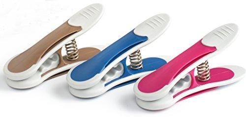 culiclean Maxi Clips (12 Stück, blau-violett-braun) Premium Wäscheklammern für schwere Stücke,...