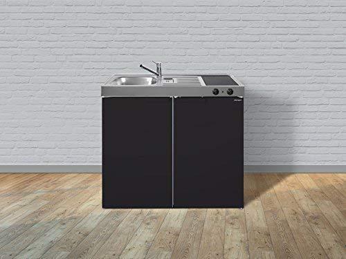 Stengel Miniküche Single Küche 100cm Metall Becken rechts MK100 schwarz Matt