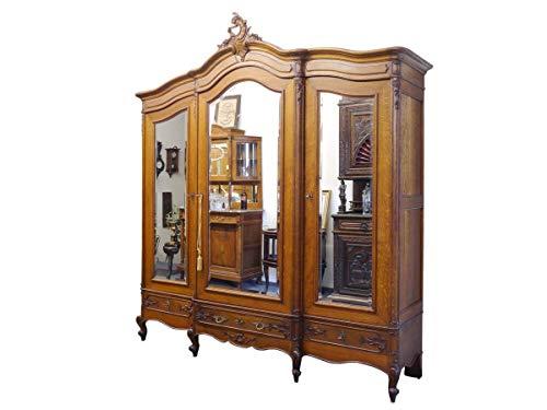 Schrank Kleiderschrank Spiegelschrank Antik um 1918 aus Eiche B: 220 cm (8563)