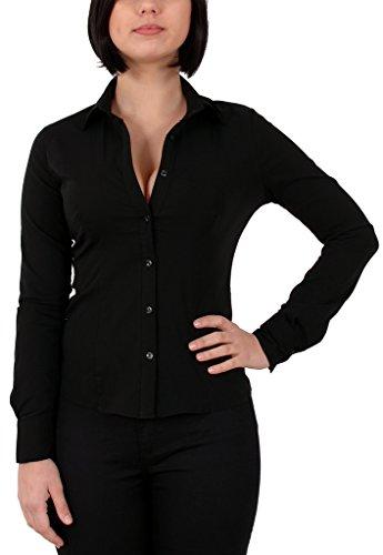by-tex Damen Stretch - Business - Bluse Damen Popeline Bluse Hemd Langarm in Schwarz, Weiß Aktuelle Farben B141 (Stretch Popeline-bluse Baumwolle)