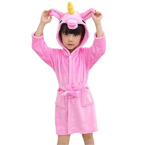 chicolife Kinder Mädchen Junge Baumwolle Einhorn Pegasus Pferd Kostüm Tier Bademantel Schlafanzug Nachtwäsche Rose Rot