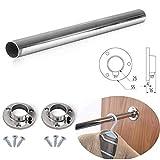 Barra de cromo pulido ovalada para armario, ideal para colgar, cortada a medida con soportes de extremo y...