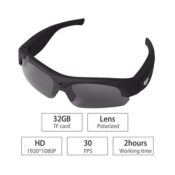Gafas De Sol, Cámara De La Cámara HD 1080P Gafas De Sol Video Gafas De Deporte con La Protección UV De Conducción Gafas… 1