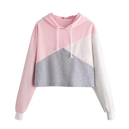 Frauen Patchwork Sweatshirt Langarm Bluse mit Kapuze Pullover Tops Shirt Kapuzenpullover Tunnelzug Hoodie MYMYG Mädchen Bluse (A1-Rosa,EU:34/CN-S) (Halloween-kostüm Baseball-mädchen Niedliche)