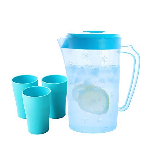 UPSTYLE cubierto de plástico jarra con tapa apto para uso alimentario PC Material bebidas jarra jarra de zumo de contenedor botella de agua ideal para agua fría, té helado, zumos, frutas y bebidas, Juego azul