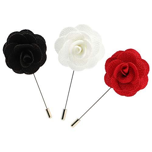 Soleebee Ansteckblumen Herren Handgefertigt Revers Pin Blume Set im Knopfloch Schläger Revers Krawatte Brosche Boutonniere für Anzug (3 Stücke Kamelie)