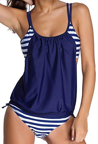 Angerella Damen Sexy Striped Gefüttert Double Up Back Cross Tankini Two Pieces Bikini Set (BKI047-N1-XXL) (Cross Back Bikini-top)