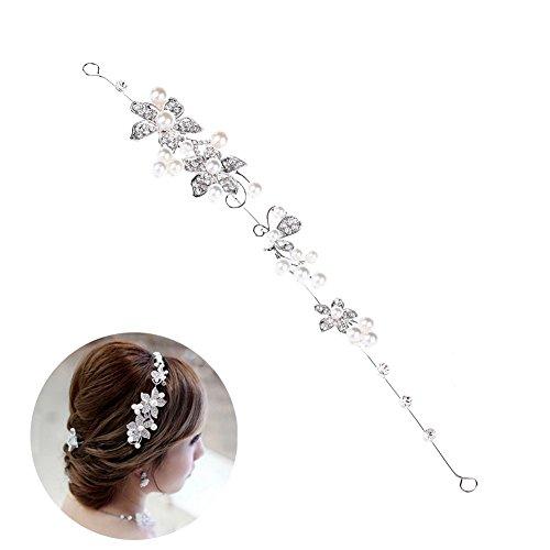 Oshide Haarschmuck Hochzeit Verträumter Zarter Haardraht im Süße-Stil mit Perlen und Strass 100%Handarbeit