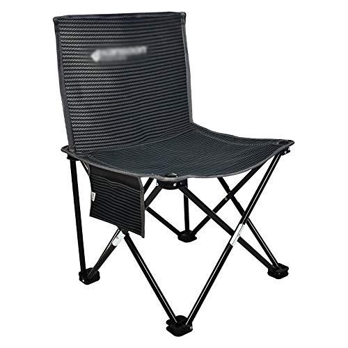 Kleine Camping Stuhl leichte tragbare Klapphocker für Bergsteigen Abenteuer Wandern Angeln Strand Picknick Party Gartenarbeit Klappstuhl (Farbe : Schwarz, Größe : 36 * 36 * 64cm)