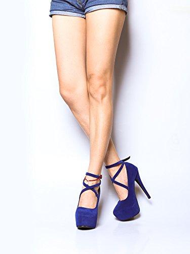 Donne Ochenta Pumps Stiletto Club Alla Moda Chiusura Con Fibbia # 11 Bleu