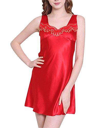 Donna Senza Manica Camicie da Notte Vestitino da Casa Raso Pigiameria Delle Rosso3