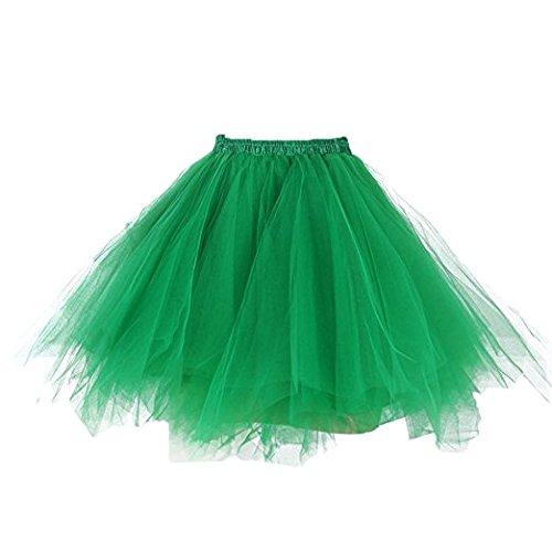 0s Vintage Tutu Ballet Half Slip Skirt Bubble Dance Tütü Kurz Tanzkleid Pettiskirt Tüllrock Tutu Damen (S/M, Dark Green) (Womens Tutu)