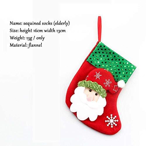 SPFAZJ Strümpfe Weihnachten Weihnachten Socken Weihnachten Weihnachtsschmuck liefert Socken Weihnachtsbaum Anhänger Weihnachten Geschenk B AG unabhängige Verpackung