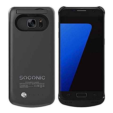 S7 Battery Case,Soconic 4200mAh Ultra Slim Rechargeable Extended Battery Charging Case for Samsung Galaxy S7, Backup External Battery Charger Case, Portable Backup Power Bank Case with Kickstand for S7 (Black)