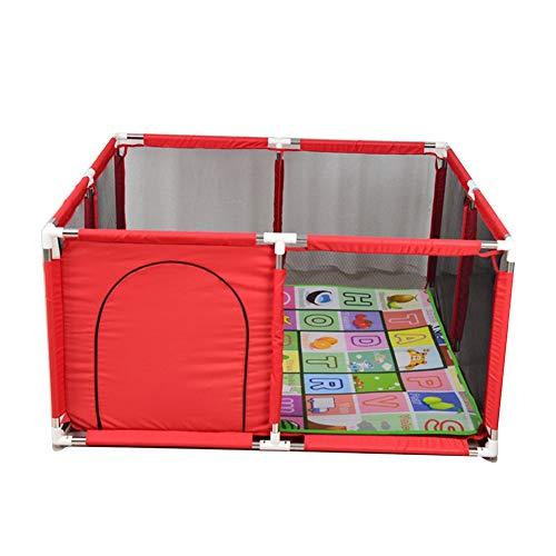CHAXIA Baby Laufstall Zaun Playpen Spiel Aktivität Le Park Schwamm Wickeln Antikollisions Sicherheit, 2 Farben Optional (Color : Red, Size : 128x128x66cm)