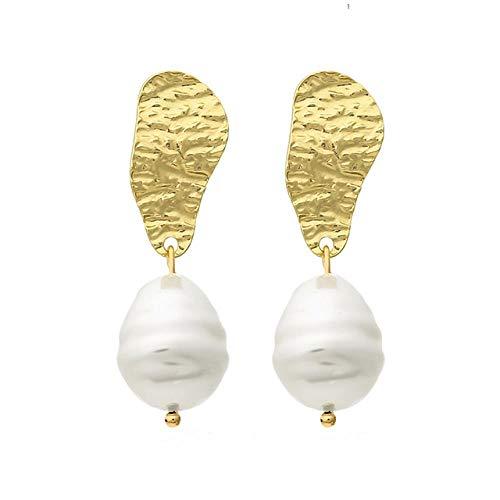 TIANHQ Pendientes Colgantes Geométricos De Metal para Mujer Joyas para Fiesta De Bodas Pendientes Colgantes De Perlas Irregulares, 2