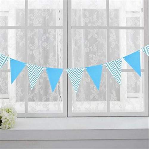 en Dreieck-Flaggen-Banner Runde Girlande Dekoration An Der Rezeption Glänzender Goldbrief Bunting Tisch Konfetti Party Hängende Light Blue ()
