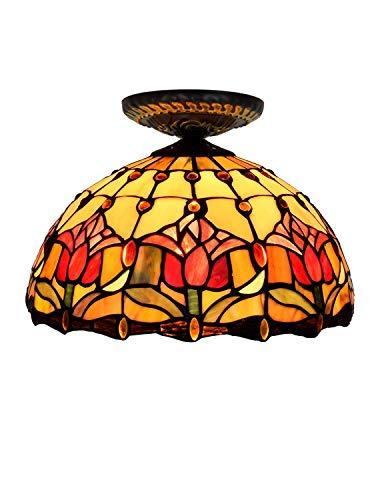 DLewiee Deckenleuchte Vintage Floral Orange Tulip Muster europäischen Stil Classic für Wohnzimmer warmes Licht Orange Floral Muster