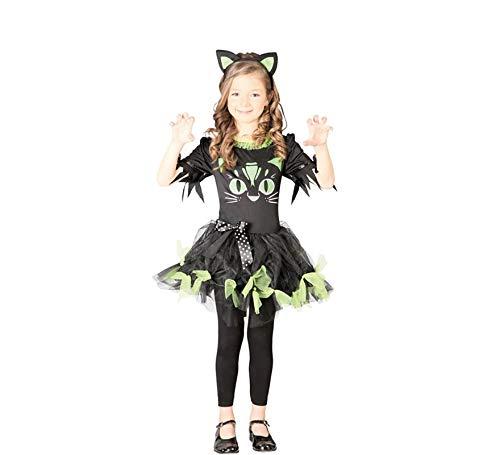 Kostüm Kitty Kyra Kinderfasching Kleid schwarz -grün Haarreif Katzenkostüm Katze (10- 12 Jahre (Gr. 140- 152)) (Kitty-katze Halloween-kostüm Für Kinder)