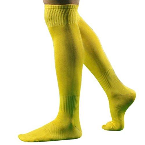 Kolylong® 1 Paar Männer Sport Fußball über Knie-hohem Baseball Eishockey Socken (43 cm) Gelb