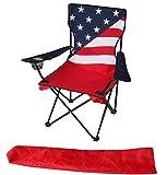 Uniware Strandstuhl mit amerikanischer Flagge, faltbar, mit extra Tragetasche, 86,4 x 53,3 x 53,3 cm, tragbar, Unisex, 1016, rot, 1 Packung
