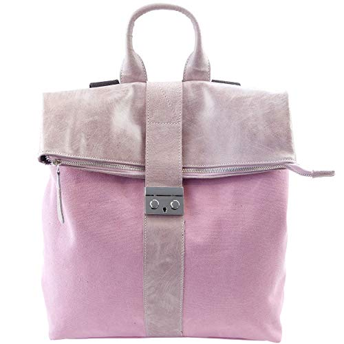 Ital. Canvas Echtleder Rucksack Leichter Tagesrucksack Daypack Lederrucksack versch. Farben erhältlich (Rosa) -