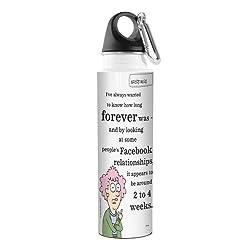 Tree-Free Greetings VB47896 Aunty Acid Artful Traveler Stainless Steel Water Bottle, 18-Ounce, Facebook