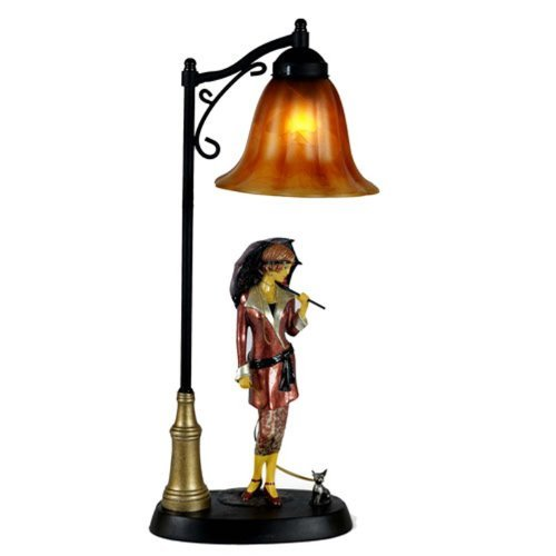 Art deco nouveau twenties lady figurine design resin table lamp glass shade free bulb by middle england